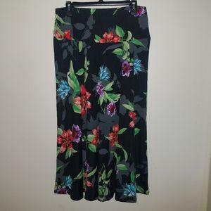 NWOT Ashley Blue Colorful Floral Maxi Skirt
